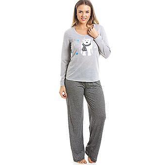 Camille Grey And Black Striped Full Length Polar Bear Motif Pyjama Set