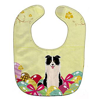 Carolines Treasures  BB6118BIB Easter Eggs Border Collie Black White Baby Bib