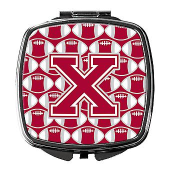 Letter X Football Crimson, grey and white Compact Mirror