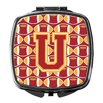 Letter U Football Cardinal and Gold Compact Mirror