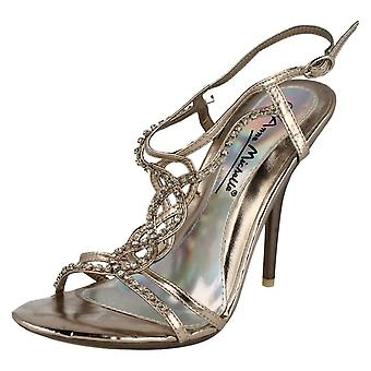 Ladies Anne Michelle Diamante Detail Peep Toe Heels