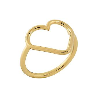 9ct 375 Gold Womens Open Love Heart Charming Ring Italy Made