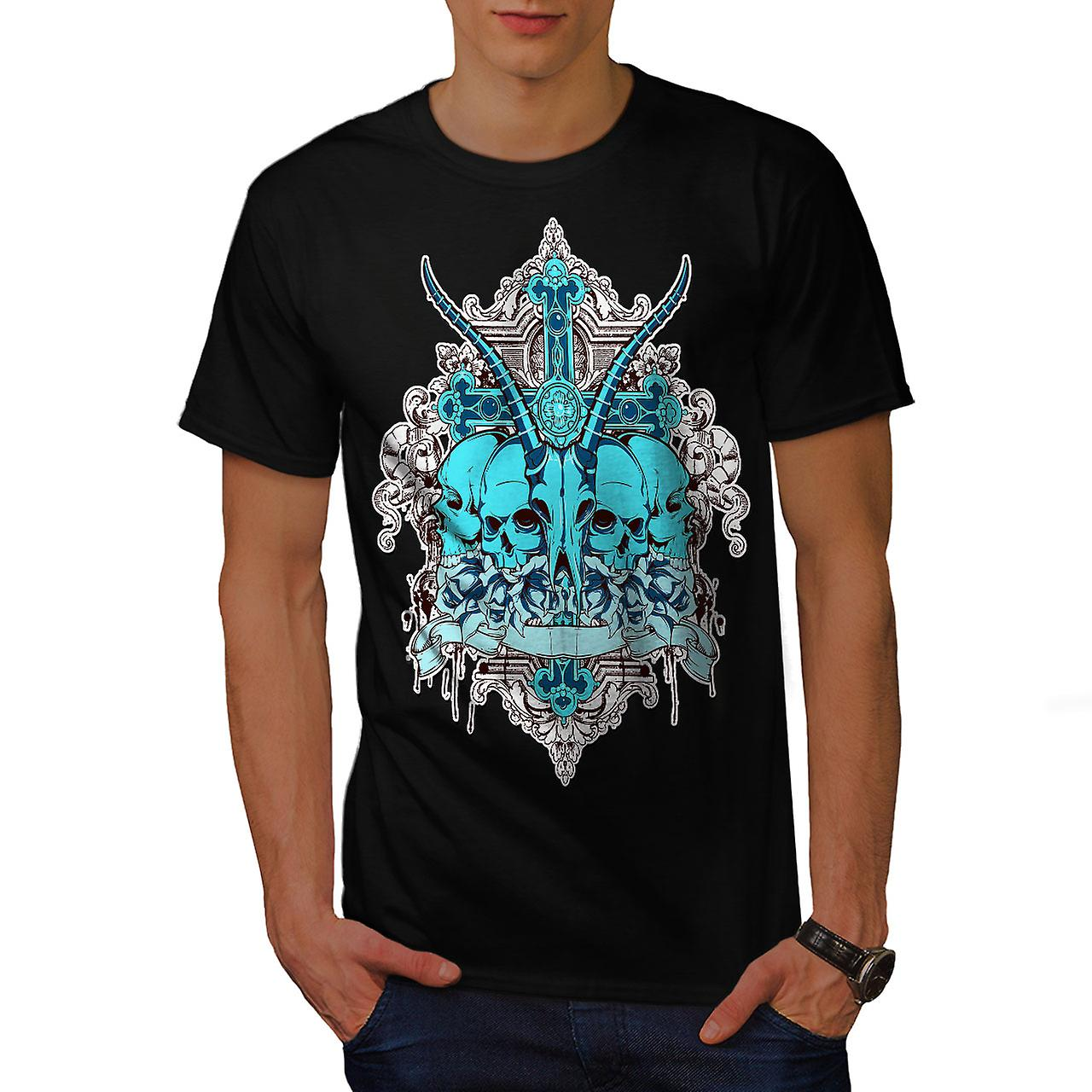 Dead Animal Cross Skull Men Black T-shirt | Wellcoda
