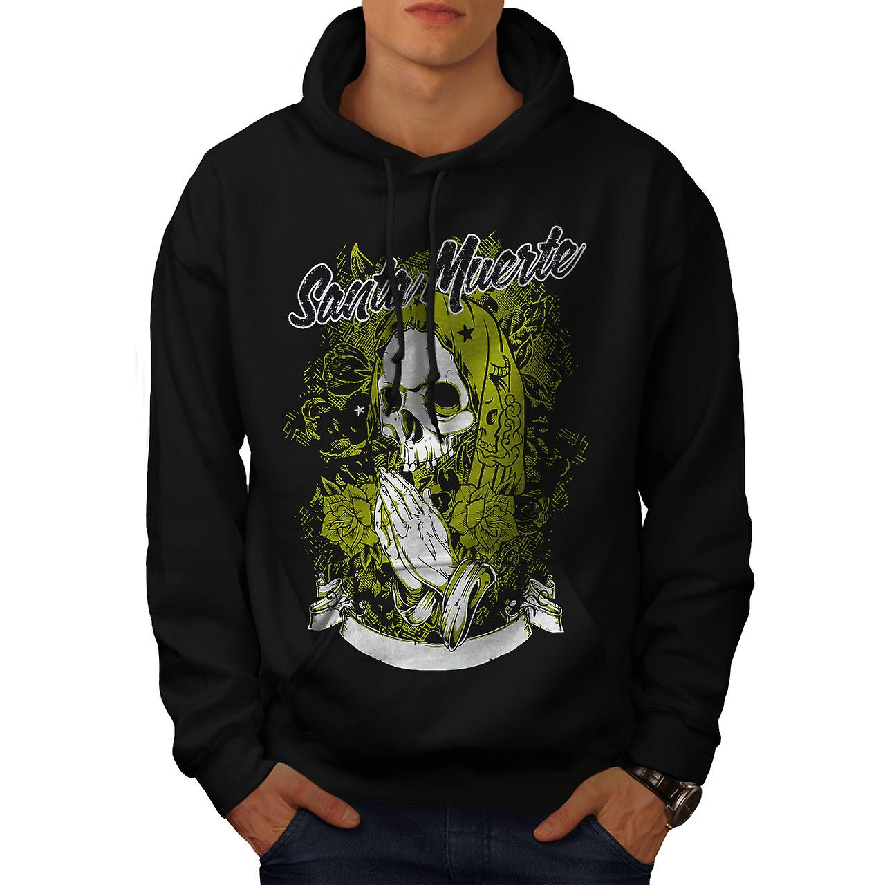 Santa Muerte Skull Men Black Hoodie | Wellcoda