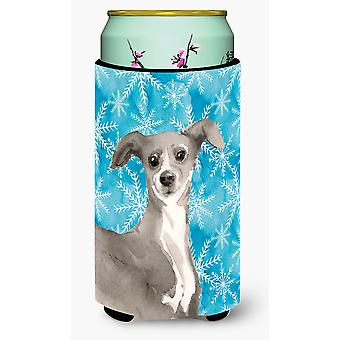 Italian Greyhound Winter Tall Boy Beverage Insulator Hugger