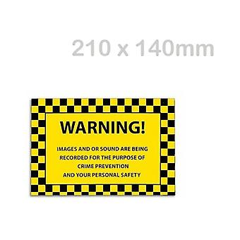 Solon Warning Images And/Or Sound Are Being Recorded Window Cling (210 X 140mm)