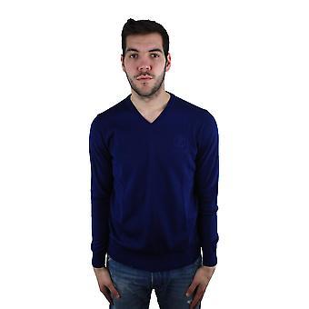 Roberto Cavalli FSM604MQ030 4500 Royal Blue V-Neck Sweater