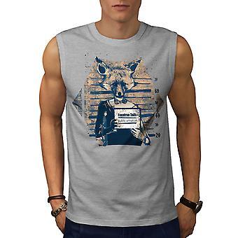 Fox Mug Shot Beast Animal Men GreySleeveless T-shirt | Wellcoda