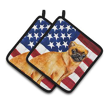 Small Brabant Griffon Patriotic Pair of Pot Holders