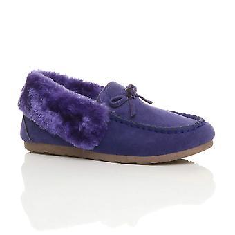 Ajvani womens faux sheepskin fur luxury flexible sole winter moccasins slippers shoes