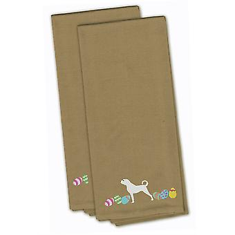 Anatolian Shepherd Easter Tan Embroidered Kitchen Towel Set of 2