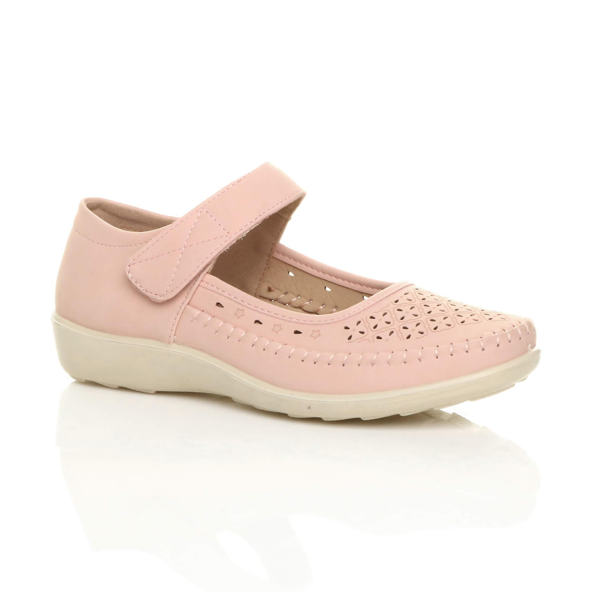 Ajvani womens flat grip sole mary jane hook & loop padded cushioned comfort shoes