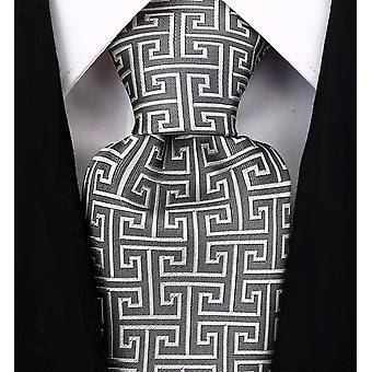 Mens Geometric Tie Greek Key Necktie By - Scott Allan Collection