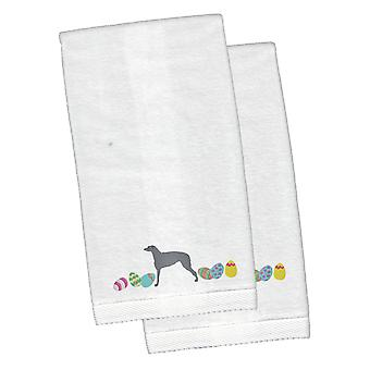 Scottish Deerhound Easter White Embroidered Plush Hand Towel Set of 2