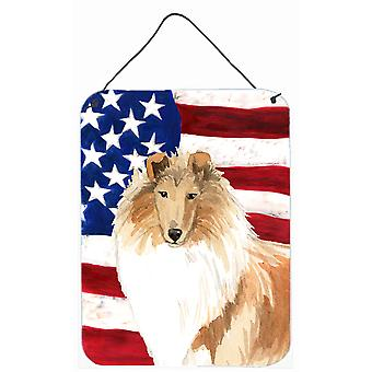Patriotic USA Rough Collie Wall or Door Hanging Prints