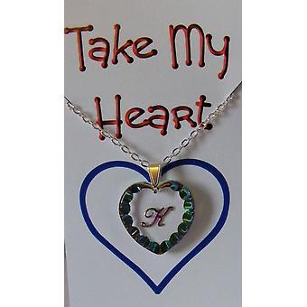 Heliotrope Initial Heart Crystal Pendant - K