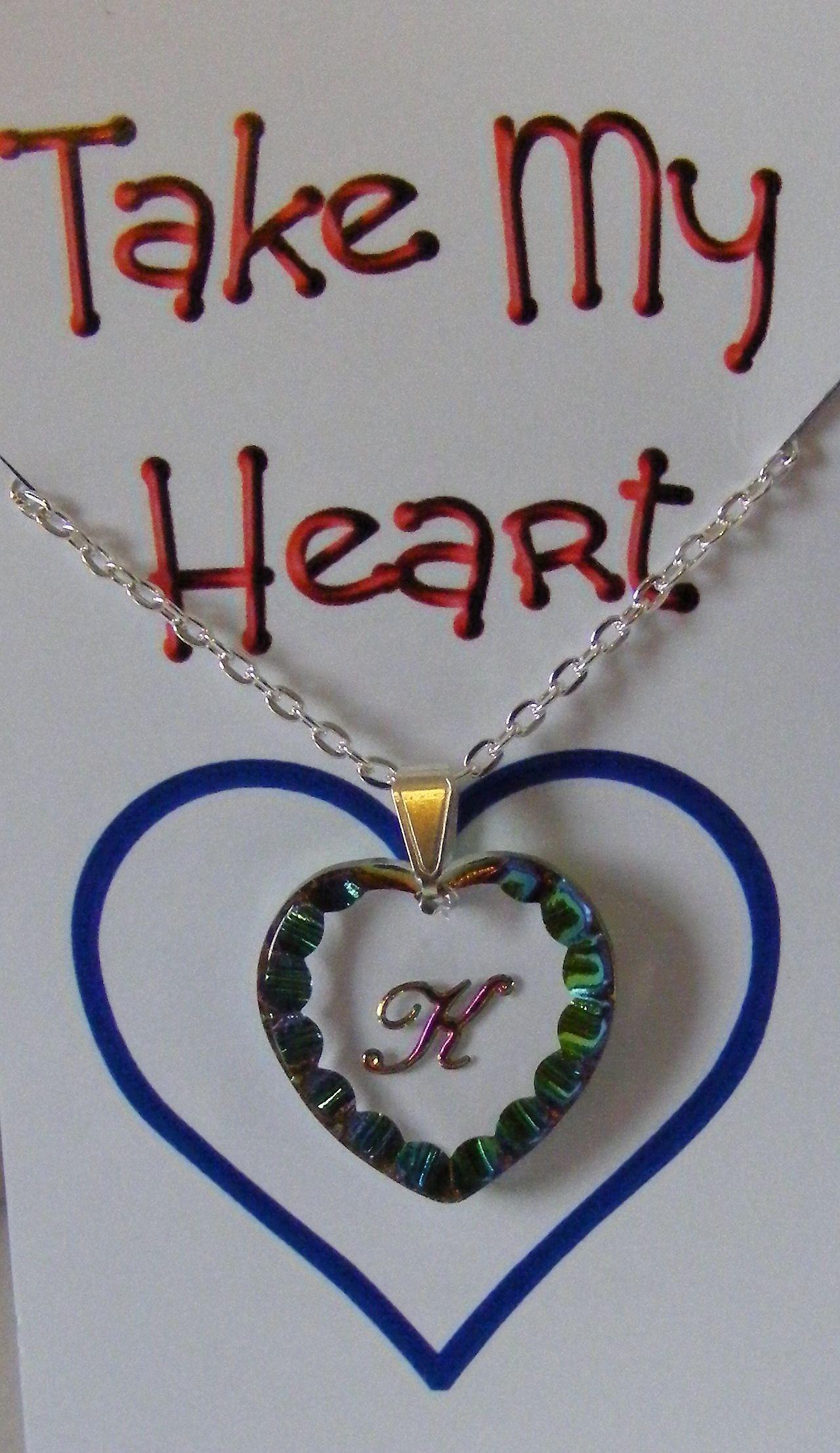 Eliotropio iniziale cuore ciondolo di cristallo - K