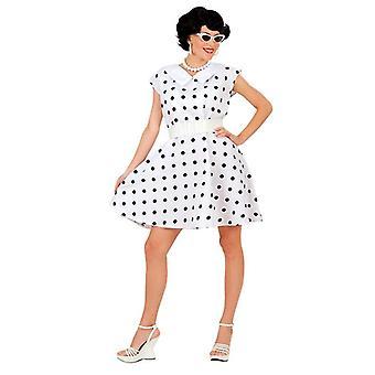 años 50 Vestido de la señora y correa - blanco