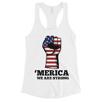 Merica wir starke Frauen weißes Tank-Top nette 4. Juli Hemden