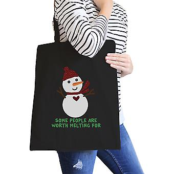 Worth Melting For Snowman Canvas Tote Reusable Bag Gift For Girls