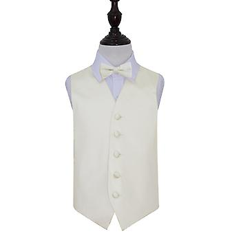 Ivory Plain Satin Wedding Waistcoat & Bow Tie Set for Boys