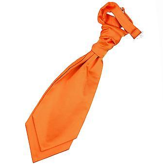 Burnt Orange Plain Satin Pre-Tied Wedding Cravat for Boys