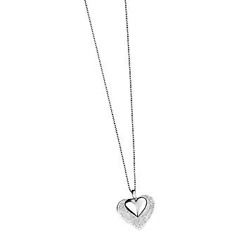 Elements Silver Scratched and Polished Heart Pendant - Silver