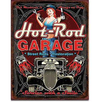 Hot Rod Garage (kolvarna) metall skylt