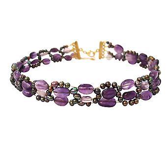 Gemshine - collana - collana - ametista - perle - porpora - viola - placcato in oro