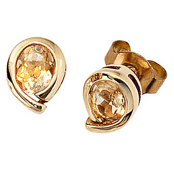 Earring studs studs, 333 / - Gelbgold, 2 citrine, height approx. 7.7 mm, ear jewelry ladies
