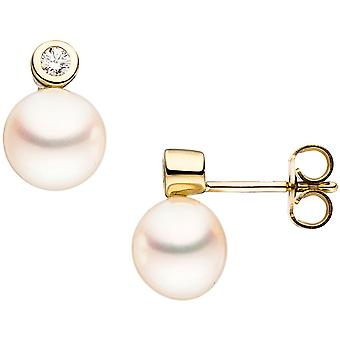 Pearl Earrings studs 333 Gold Yellow Gold 2 freshwater pearls cubic zirconia earrings