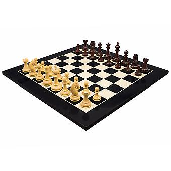 The Valletta Redwood & Gloss Black Luxury Chess Set