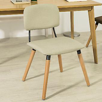 SoBuy Kitchen Dining Chair Fabric Upholstered Seat & Backrest with Wooden Legs Beige FST54-MI