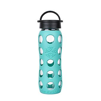 Lifefactory 22 oz Glass Water Bottle with Classic Cap and Silicone Sleeve - Sea Green