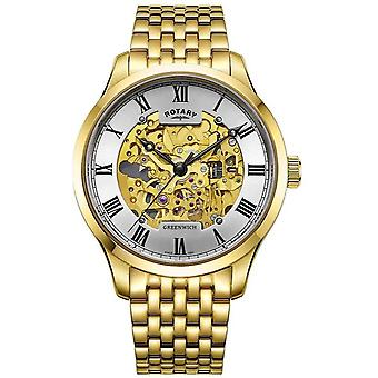 Rotary Mens Greenwich Automatic Gold Plated Skeleton GB02941/03 Watch