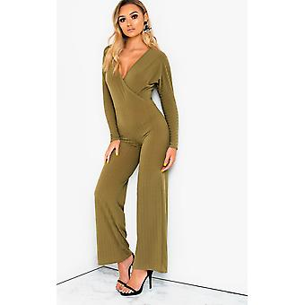 IKRUSH Womens Albany Ribbed Wide Leg Jumpsuit