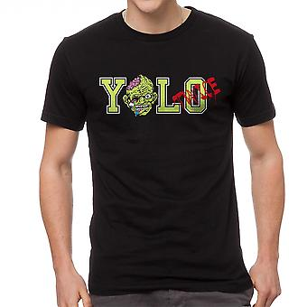 Funny Yolo Twice Zombie Graphic Men's Black T-shirt