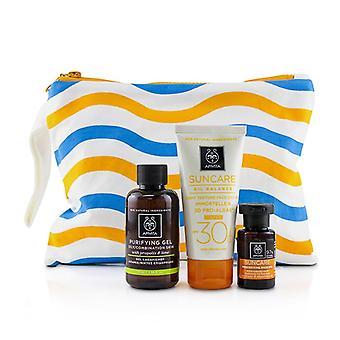 Apivita Suncare Set: Suncare Oil Balance Face Cream SPF30 - Tint 50ml + Purifying Gel 75ml + Protective Hair Oil - 3pcs+1bag