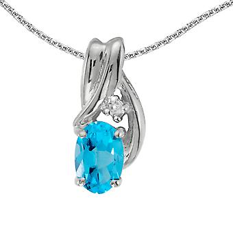 14k White Gold Oval Blue Topaz And Diamond Pendant with 18