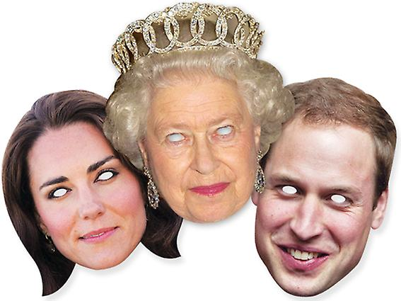 Diamond Jubilee - Royal Family Card Face Mask Set of 3 - Queen William and Kate