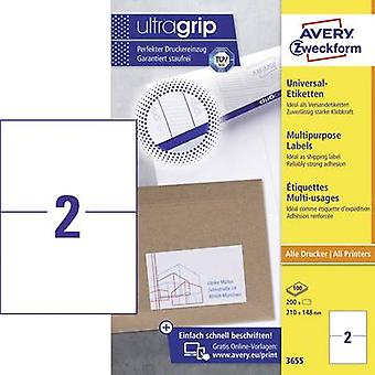 Avery-Zweckform 3655 Labels 210 x 148 mm Paper White 200 pc(s) Permanent All-purpose labels Inkjet, Laser, Copier 100 sheet A4