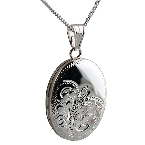 Silver 25x19mm handmade engraved oval Locket with Curb chain