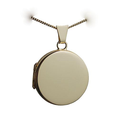 18ct Gold 20mm plain flat round Locket with a curb Chain 16 inches Only Suitable for Children