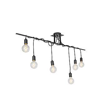 QAZQA colgante moderna lámpara negro 6 con Cables torcidos - fáciles