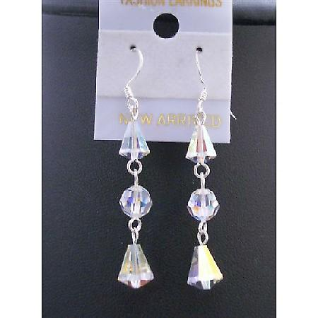 Swarovski AB Crystal Round & Cap Beads Crystals Silver 92.5 Earrings
