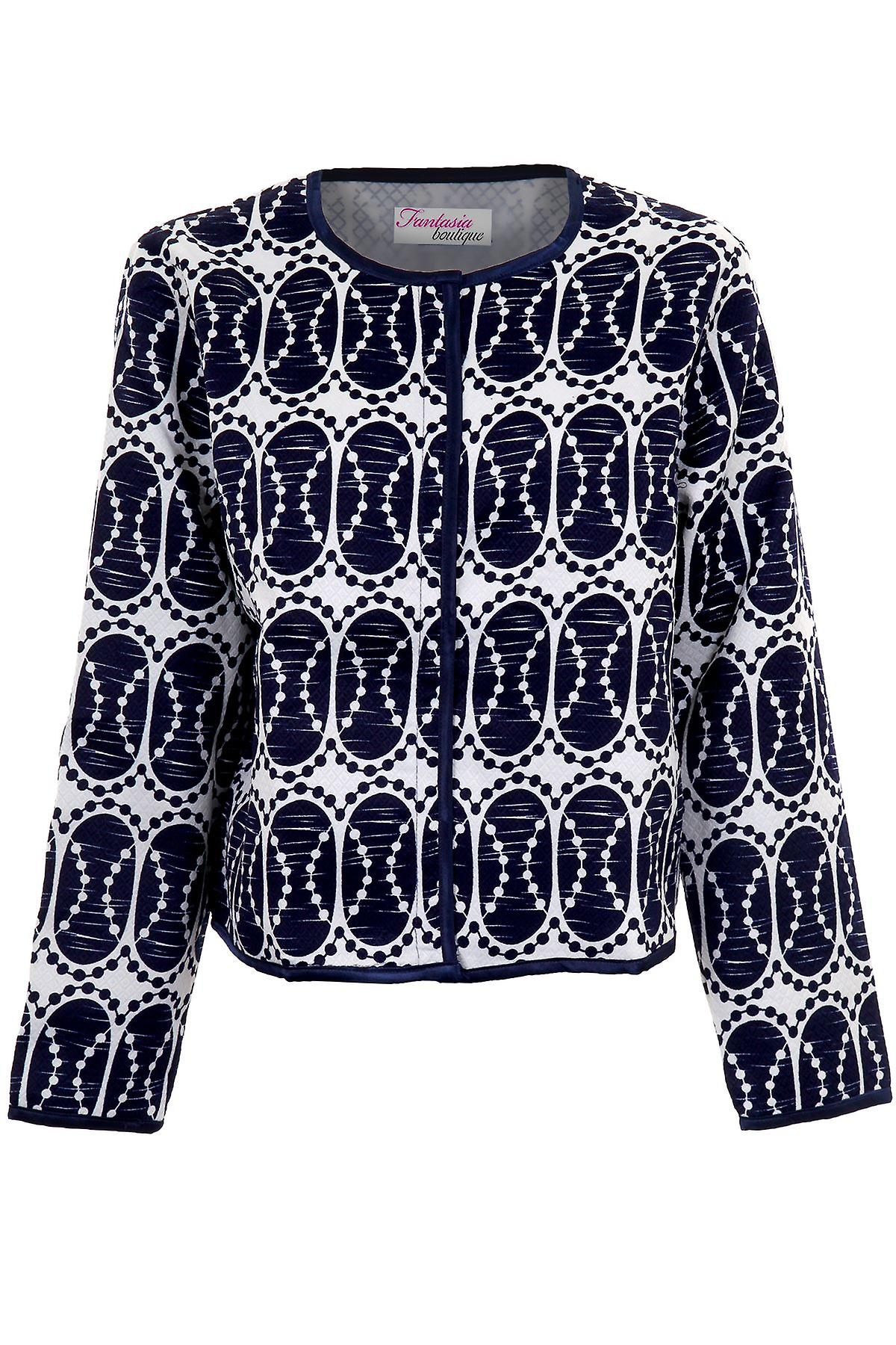 Ladies Navy White Long Sleeve Oval Printed Women's Lined Textured Jacket