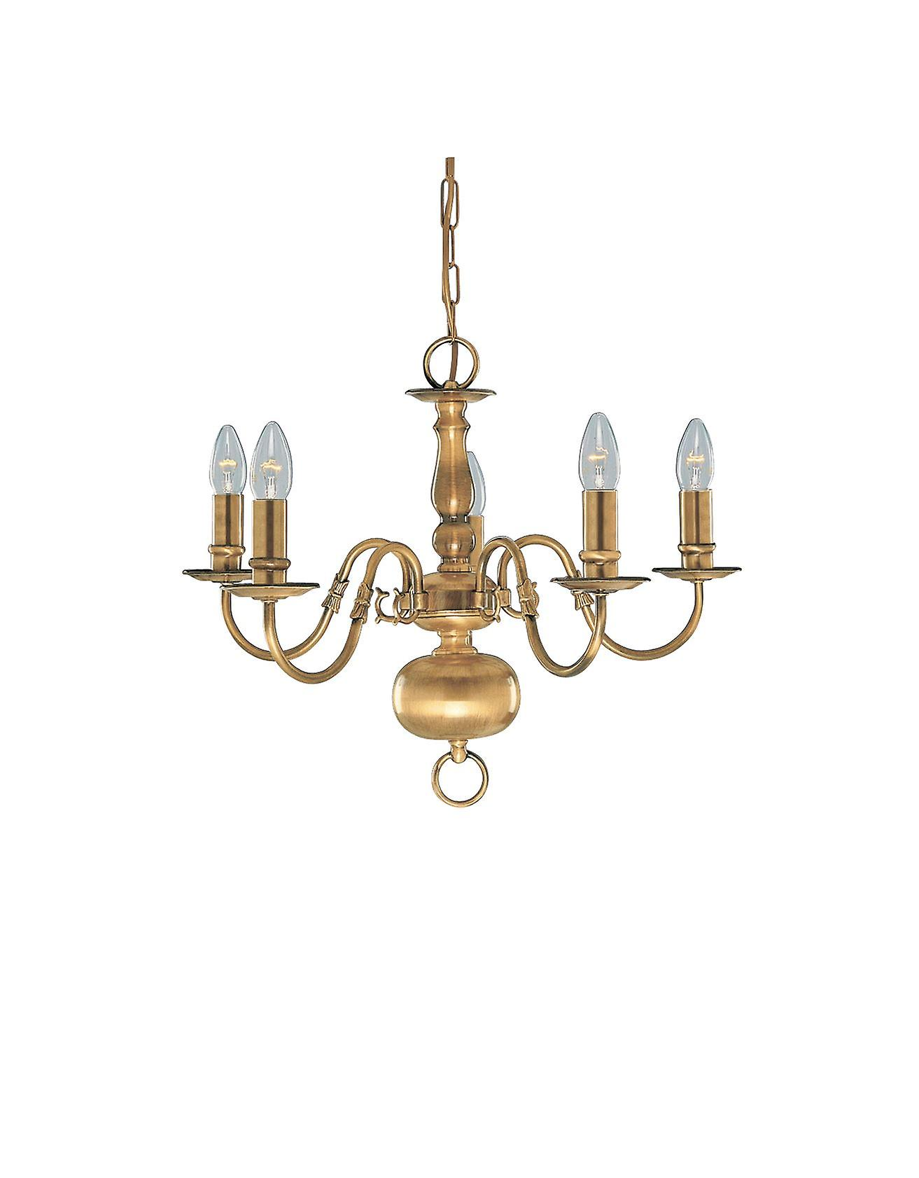 Flemish Solid Brass Five Light Ceiling Light In Antique Brass - Searchlight 1019-5AB