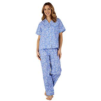 Slenderella PJ3134 Frauen Baumwoll Jersey Floral Pyjama Pyjama Set