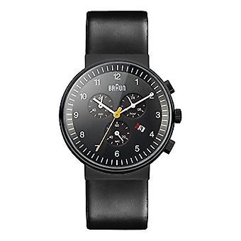 Braun Mens quartz Chronograph Watch with leather strap BN0035BKBKG