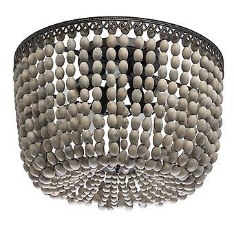 Glasberg - semi infälld ljus fem taklampa i rost metall och naturlig trä 679010905